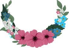 À moitié autour de la guirlande florale de cadre avec des fleurs illustration stock