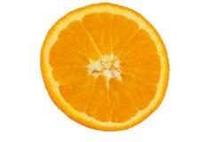 À moitié coupée en tranches orange d'isolement sur le fond blanc Photo stock