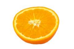 À moitié coupée en tranches orange d'isolement sur le fond blanc Photos stock