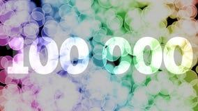 99999 à 100000 points, niveau, grade se fanent l'animation d'in/out avec le fond en mouvement de bokeh de gradient de couleur illustration libre de droits