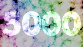 4999 à 5000 points, niveau, grade se fanent l'animation d'in/out avec le fond en mouvement de bokeh de gradient de couleur illustration libre de droits