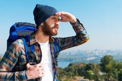 À procura dos horizontes novos Fotos de Stock