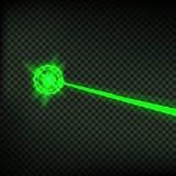 À rayon laser vert abstrait Faisceau de degré de sécurité de laser sur le fond transparent Rayon léger avec l'éclair de cible de  Image stock