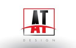 À T Logo Letters avec des couleurs et le bruissement rouges et noirs illustration stock