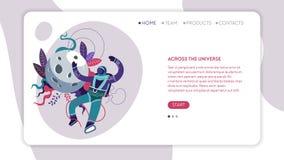 À travers l'astronaute ou l'astronaute en ligne de calibre de page Web d'univers illustration libre de droits