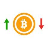 À travers l'icône plate de cours de bitcoin de flèches Concept d'insigne simple de bitcoin illustration de vecteur