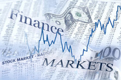 À travers sur les marchés financiers images stock