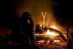À un incendie Photographie stock