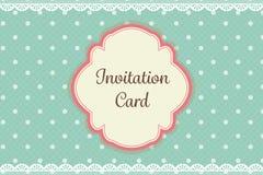 Às bolinhas bonito da cerceta com o cartão elegante do convite do fundo do laço ilustração do vetor