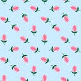 Às bolinhas brancos na luz - mar azul das tulipas do rosa da flor do fundo Foto de Stock Royalty Free