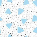 Às bolinhas irregular e triângulos tirados à mão Teste padrão sem emenda moderno ilustração stock