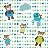 Às bolinhas liso colorido do papel de parede da repetição com projeto da família do urso Fotos de Stock