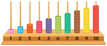 Ábaco colorido 1 a 10 stock de ilustración