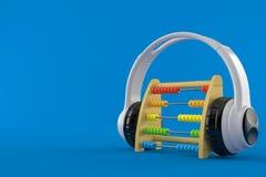 Ábaco de madeira com fones de ouvido Ilustração do Vetor