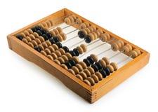 Ábaco de madeira da contabilidade velha isolado no branco Fotografia de Stock Royalty Free
