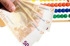 Ábaco y euro Fotografía de archivo libre de regalías