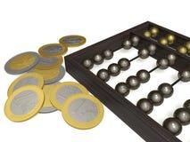 Ábaco y monedas Imagenes de archivo