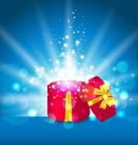 Ábrase alrededor de la caja de regalo para su día de fiesta Foto de archivo libre de regalías