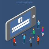 Ábrase una sesión 3 de abril de 2016 al vector plano 3d del smartphone del facebook Imágenes de archivo libres de regalías