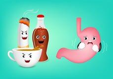 Ácido bonito do medo do caráter do estômago dos desenhos animados do café ilustração royalty free