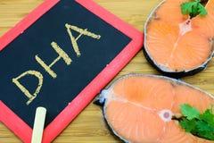 Ácido de DHA ou de Docosacexaenoic em peixes marinhos Imagem de Stock
