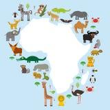 África animal: repita mecánicamente el lemu de la avestruz del tsetse del mosquito del camello de la serpiente de la mamba del el ilustración del vector