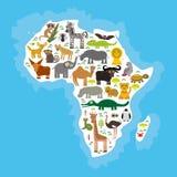 África animal: repita mecánicamente el lemu de la avestruz del tsetse del mosquito del camello de la serpiente de la mamba del el libre illustration
