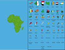 África com todas as bandeiras Imagens de Stock Royalty Free