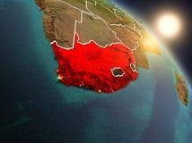 África do Sul do espaço durante o nascer do sol Fotos de Stock Royalty Free