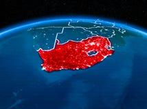 África do Sul do espaço na noite Imagem de Stock Royalty Free