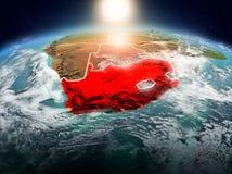 África do Sul no nascer do sol da órbita ilustração royalty free