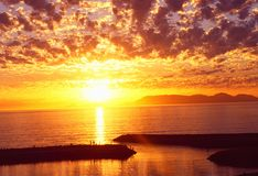 África do Sul: Por do sol sobre a baía de Gordons, cabo ocidental fotos de stock