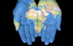 África em nossas mãos Fotos de Stock Royalty Free