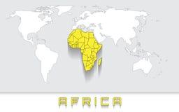 África en el mapa Fotos de archivo