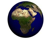 África en un globo de la tierra Foto de archivo libre de regalías