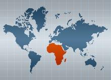 África no mapa do mundo Fotos de Stock