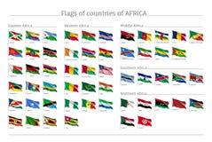 África señala el sistema por medio de una bandera grande Imagen de archivo libre de regalías