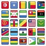 África señala los botones por medio de una bandera cuadrados Foto de archivo libre de regalías