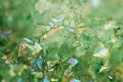 Ágata verde de los cristales del fondo Macro Imagen de archivo