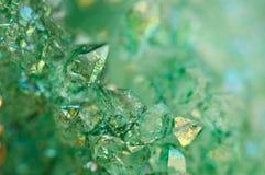 Ágata verde de los cristales del fondo Macro Imágenes de archivo libres de regalías