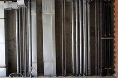 Água, aquecimento, água de esgoto e tubulações da ventilação Foto de Stock Royalty Free