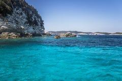 Água azul em Paxos Fotos de Stock