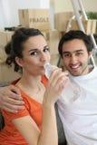 Água bebendo da mulher do frasco Fotos de Stock