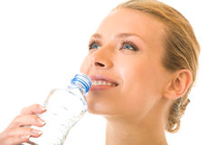 Água bebendo da mulher, isolada Fotografia de Stock Royalty Free