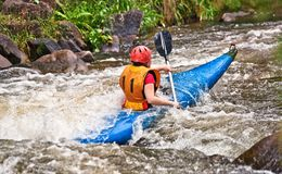 Água branca que kayaking fotografia de stock