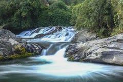 A água cai através das rochas com um fundo verde fotos de stock