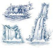 A água cai desenho Imagem de Stock Royalty Free