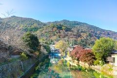 A água clara no canal com reflete a sombra de uma árvore no outono Imagem de Stock Royalty Free