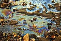 Água com as correcções de programa da gasolina e do petróleo Fotos de Stock Royalty Free