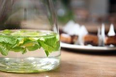 Água com citrino e hortelã imagem de stock royalty free